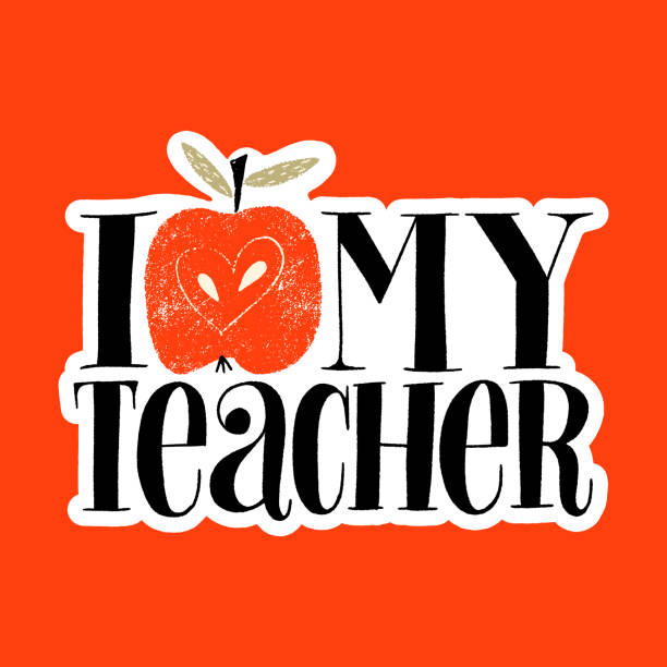 I love my teacher I love my teacher. Hand-drawn lettering quote for teacher appreciation with a red apple. Wisdom for merchandise, social media, web design elements. Vector lettering isolated on white sticker. thank you teacher stock illustrations