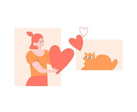 Love of pet and owner. Girl gives heart to a cat. Adoption an animal from a shelter. Vector flat illustration.