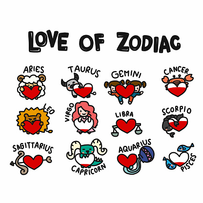 Love of zodiac cartoon doodle set vector illustration