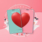 Two hearts on mobile phone combined into one on pink background. Vector illustration. design for Valentine's day festival.