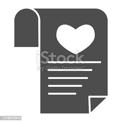 istock Love or romantic letter solid icon. Newspaper with heart and lines symbol, glyph style pictogram on white background. Valentines day sign for mobile concept and web design. Vector graphics. 1216072910