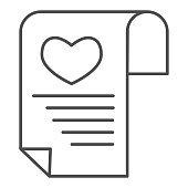 Love or romantic letter thin line icon. Newspaper with heart and lines symbol, outline style pictogram on white background. Valentines day sign for mobile concept and web design. Vector graphics