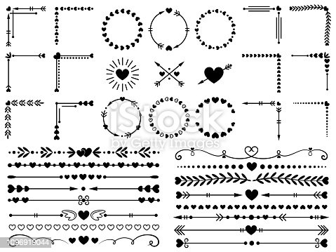 Love ornaments. Wedding hearts ornamental, decorative heart border and in love frame design ornament. Hand drawn swirl love borders or floral dividers. Vector isolated elements icon set