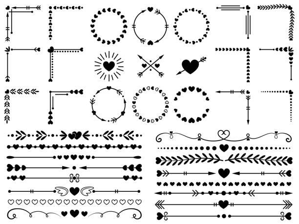 stockillustraties, clipart, cartoons en iconen met hou van ornamenten. bruiloft harten sier, decoratief hart grens en in liefde frame design sieraad vector-elementen instellen - maaswerk