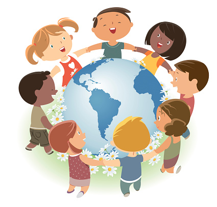 Love our Earth. Diverse children love and protect the world.