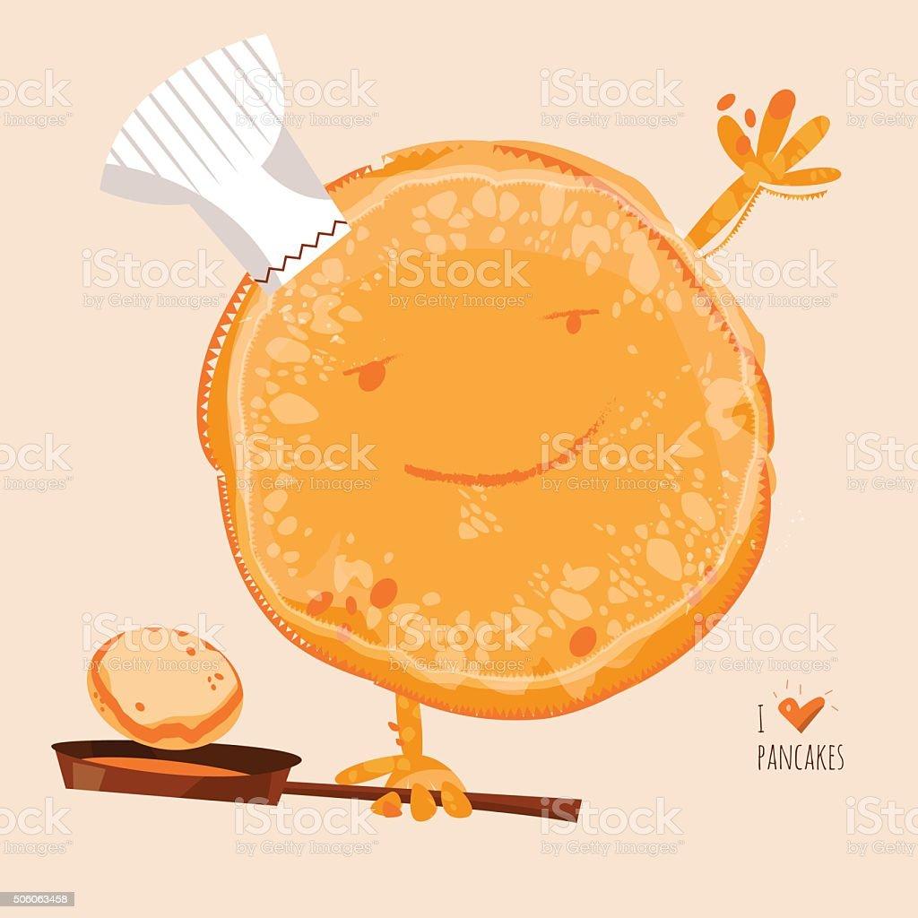 I love Pancakes. Happy Pancake Day! vector art illustration