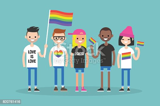 istock Love parade. A group of people with rainbow flags and symbols. LGBT. LGBTQ. 820761416