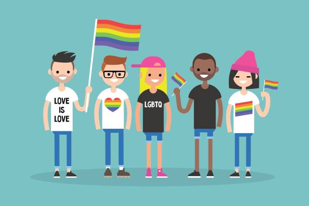 Love parade. A group of people with rainbow flags and symbols. LGBT. LGBTQ. Love parade. A group of people with rainbow flags and symbols. LGBT. LGBTQ. gay person stock illustrations
