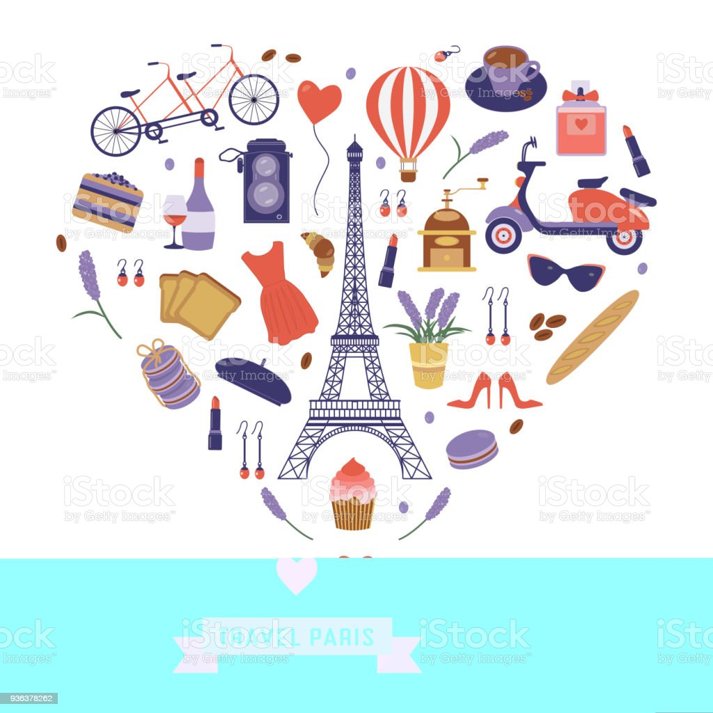 I love Paris Card with French Travel Icons vector art illustration