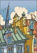 A romantic view from roofs of Paris. Sketch and colors are on different layer.