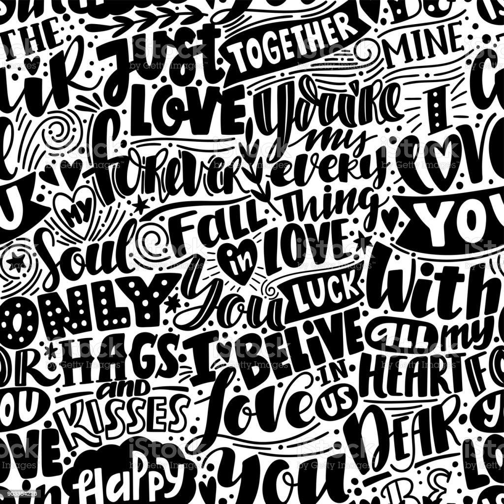 Ilustración De Patrón De Amor Blanco Y Negro De Patrones Sin Fisuras