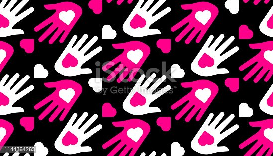 Hands and Hearts Seamless Pattern in Vector