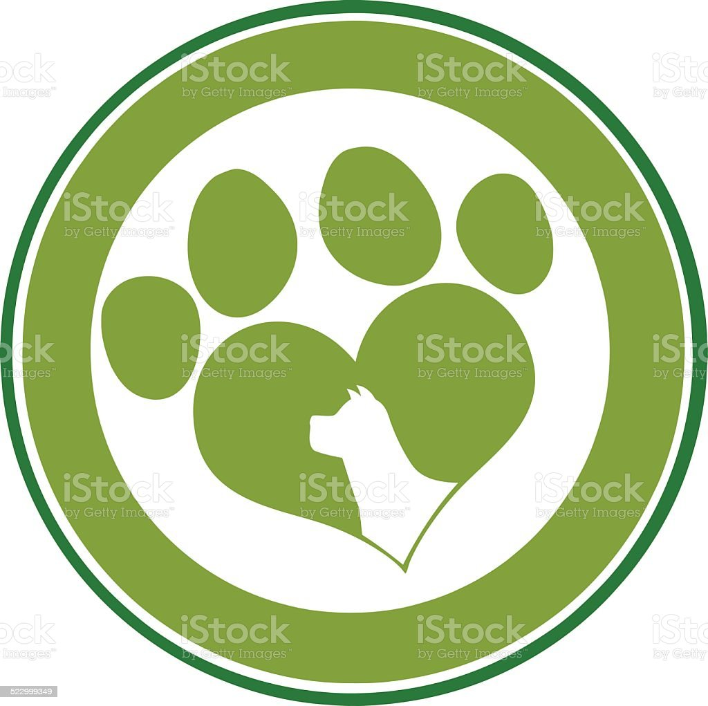 love paw print green circle banner with dog head silhouette stock rh istockphoto com Printable Dog Paw Prints Dog Paw Print Pattern