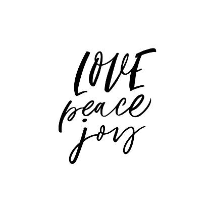 Love, peace, joy card. clipart