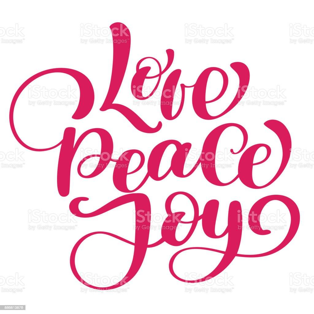 Love peace joy christmas quote. Ink hand lettering. Modern brush calligraphy. Handwritten phrase. Inspiration graphic design typography element. Cute simple vector sign vector art illustration