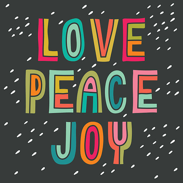 Love Peace Joy. Hand drawn vintage print with hand lettering. vector art illustration