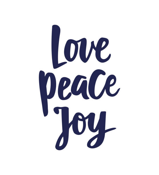 love peace joy text, hand drawn brush lettering. holiday greetings quote isolated on white. great for christmas gift tags and labels - radość stock illustrations