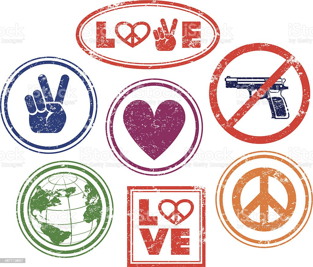 Love, peace, no guns - rubber stamps vector art illustration