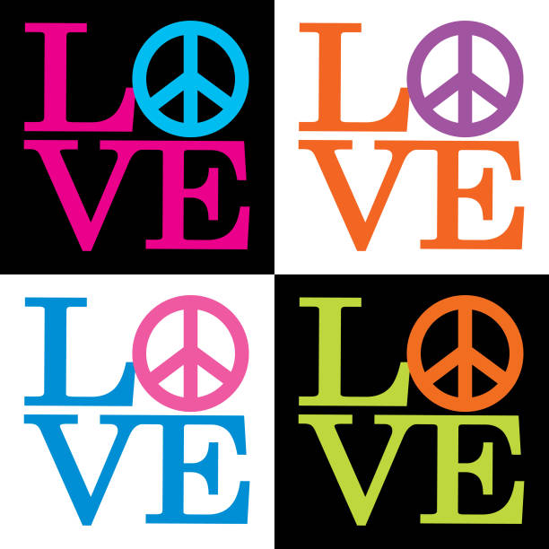 Love Peace Sign Icons Vector illustration of four colorful love/peace sign icons. 1960 1969 stock illustrations