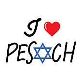 I love pesach vector calligraphy isolated on white background.
