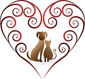 Love pets cat and dog vintage design icon vector image