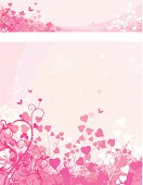 Love pink background with heart shape leaves