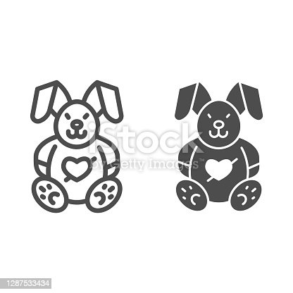 istock Love plush rabbit with heart line and solid icon, valentine day concept, toy bunny sign on white background, romantic gift icon in outline style for mobile concept and web design. Vector graphics. 1287533434