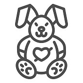 Love plush rabbit with heart line icon, valentine day concept, toy bunny sign on white background, romantic gift icon in outline style for mobile concept and web design. Vector graphics