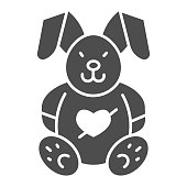Love plush rabbit with heart solid icon, valentine day concept, toy bunny sign on white background, romantic gift icon in glyph style for mobile concept and web design. Vector graphics