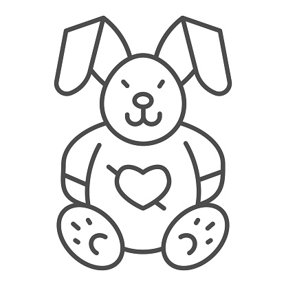 Love plush rabbit with heart thin line icon, valentine day concept, toy bunny sign on white background, romantic gift icon in outline style for mobile concept and web design. Vector graphics.