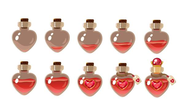 love potion . Game icon of magic elixir. Vector design for app user interface. love potion . Game icon of magic elixir. Vector design for app user interface. Heart bottles with different liquid level. Isolated on white background. love potion stock illustrations