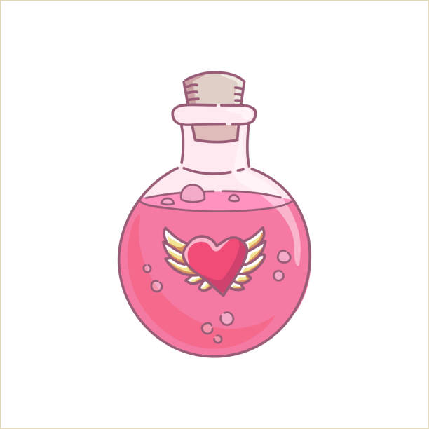 Love potion glass bottle Love potion gin lass bottle pink liquid spell for holidays Halloween and Valentines day vector isolated on white love potion stock illustrations