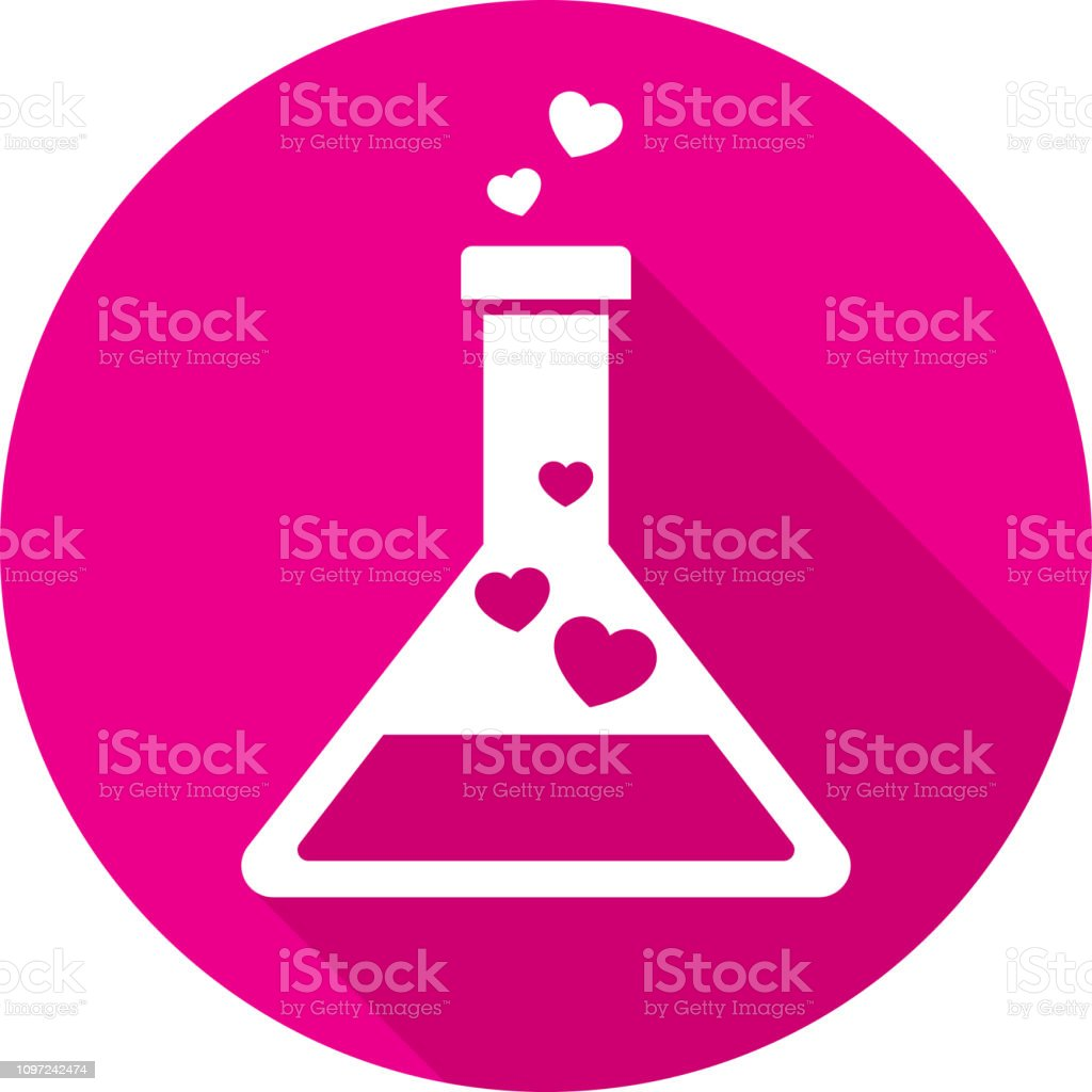 Love Potion Icon Silhouette Vector illustration of a pink love potion icon in flat style. Alchemy stock vector