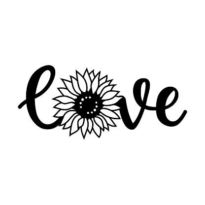 Love print for t-shirt, Love sunflower lettering, Love vector illustration