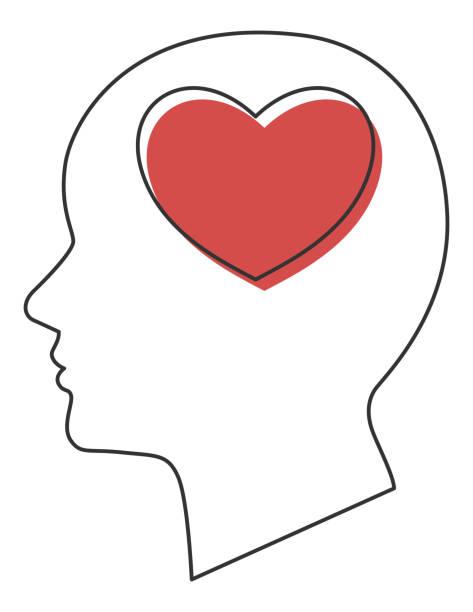 愛心理学、脳 ベクターアートイラスト
