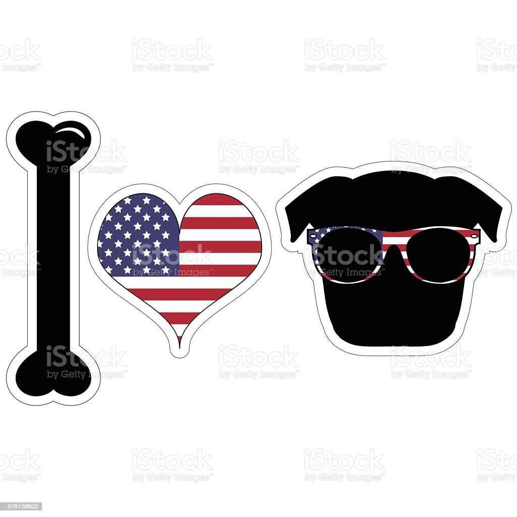 I love pug illustration in black with American symbols vector art illustration