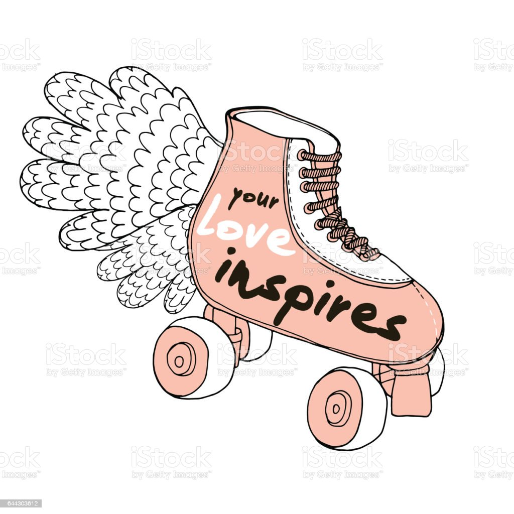 Quote Roller Love Quote On Retro Hand Drawn Roller Skates Stock Vector Art