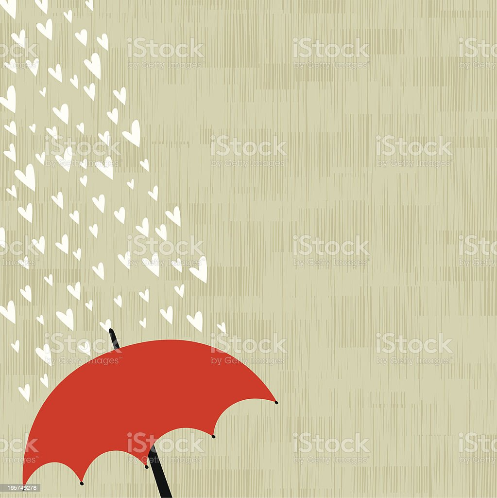 Love rain background vector art illustration