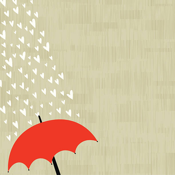 Love rain background vector art illustration
