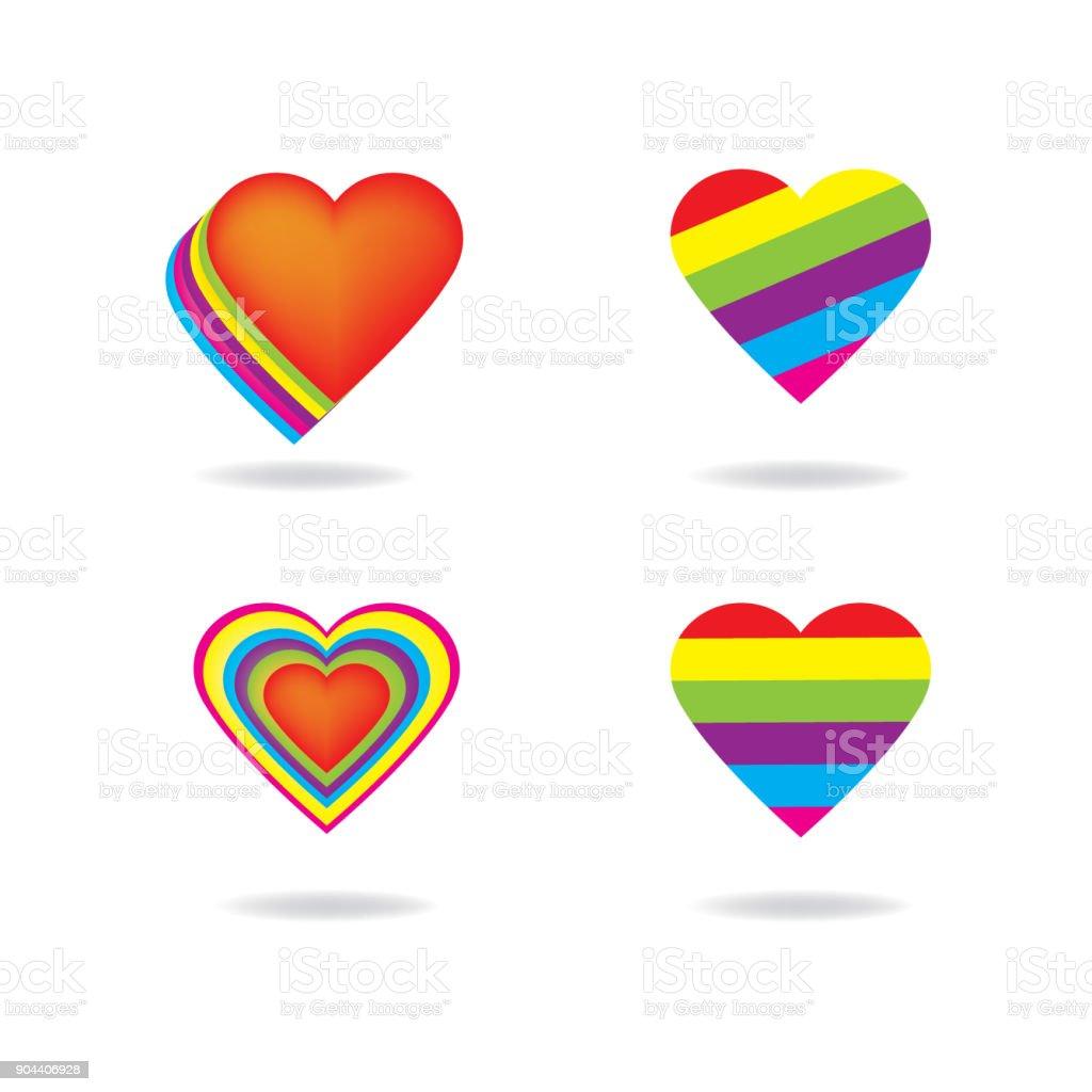 Amor LGTB arco iris corazón forma vector fondo, libertad amor icono. - ilustración de arte vectorial