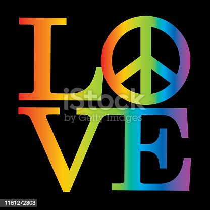 Vector illustration of a rainbow striped word LOVE with a peace sign in it.