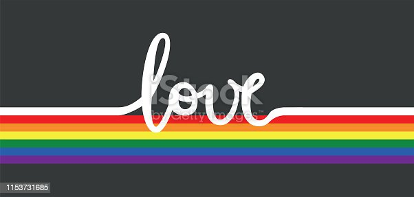 Vector illustration of the word love and the LGBT rainbow