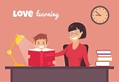 Pretty young mother reading a book with her son at home. Love reading concept. Vector illustration