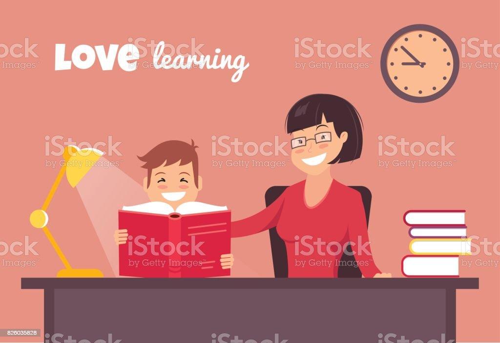Love reading concept. vector art illustration