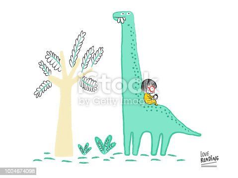 Love Reading. Girl reading a book on top of a Diplodocus, vector illustration