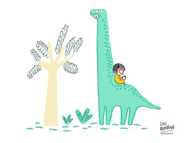 stockillustraties, clipart, cartoons en iconen met love lezing. meisje het lezen van een boek op de top van een diplodocus, vectorillustratie - teenager animal