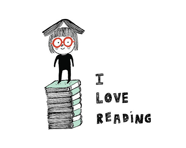 stockillustraties, clipart, cartoons en iconen met i love reading - a little girl reading a book