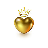 Gold Love Realistic Heart with golden Crown isolated on white background. Shiny 3d elegant symbol for queens or kings design idea. Valentine's Day greeting card, tag, sticker. Vector illustration.