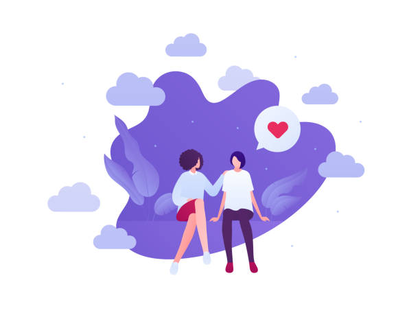 Love relationship and lgbt romantic date concept. Vector flat people illustration. Multiethnic characters. Lesbian female couple sitting. Heart shape sign. Design for banner, valentine day card. Love relationship and lgbt romantic date concept. Vector flat people illustration. Multiethnic characters. Lesbian female couple sitting. Heart shape sign. Design for banner, valentine day card. african american valentine stock illustrations
