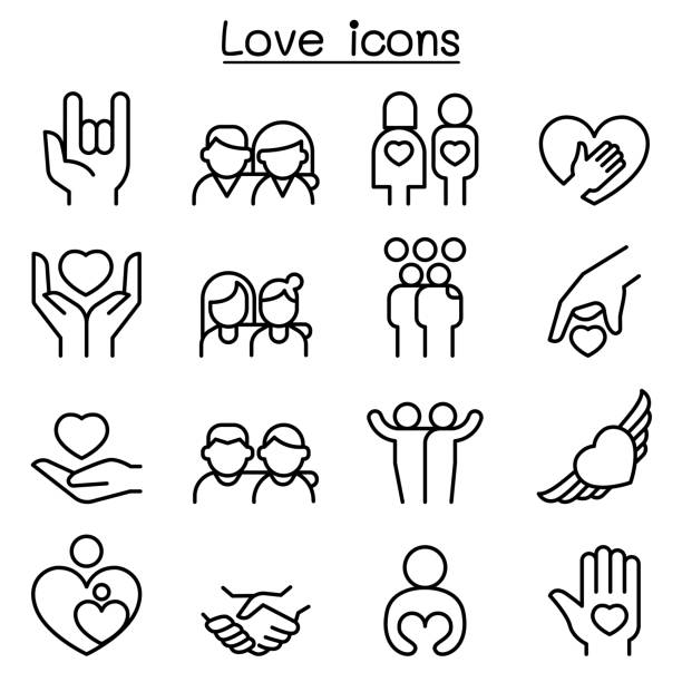 love, relationship, friend, family icon set in thin line style - happy family stock illustrations